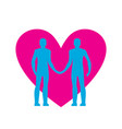 gay love lgbt heart guys hold hands together vector image vector image
