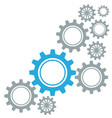 gears border graphics grey and blue on white vector image
