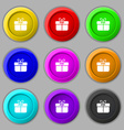 Gift box icon sign symbol on nine round colourful vector image vector image