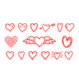 hand drawn hearts icons vector image vector image