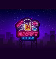 happy hour neon sign happy hour design vector image vector image