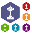 irish celtic cross icons set hexagon vector image vector image