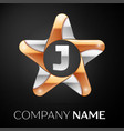 Letter j logo symbol in the colorful star on black