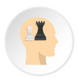 queen and pawn chess inside human head icon circle vector image vector image