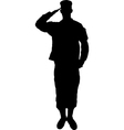 Saluting army soldier silhouette on white