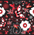 seamless pattern with butterflies and flowers vector image vector image