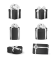 Set of black gift boxes with white bows and vector image