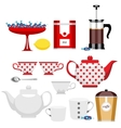 Set of different items for tea vector image vector image