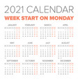 simple 2021 year calendar vector image vector image