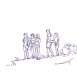 sketch group of travelers people with backpacks vector image