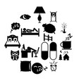 sleeping icons set vector image