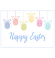 tender happy easter card with colorful eggs vector image