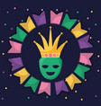 theatrical happy masks with crown vector image