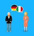 two people with white speech bubbles with germany vector image vector image