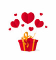 valentines day gift box with flying hearts vector image vector image