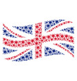 waving uk flag pattern of blot items vector image vector image