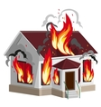 White stone house burns Property insurance vector image vector image