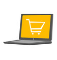laptop with a shopping cart vector image