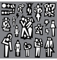 conflict man and woman - icons set vector image