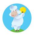 cartoon sheep holding gold coin vector image