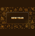 2019 new year golden horizontal outline vector image vector image