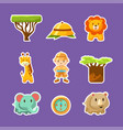 african animals plants boy in safari outfit cute vector image vector image