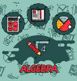 algebra flat concept icons vector image vector image