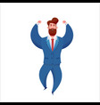 business man in suit laughs with hands up vector image