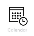 calendar icon editable outline vector image vector image
