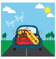 car with luggage going to the trip vector image vector image