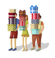 cartoon people with stacks of presents vector image vector image