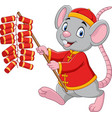 cartoon rat in chinese traditional costume vector image