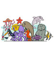 cartoon sea life animal characters group vector image