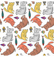 childish pattern with cute colorful pets vector image
