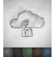 cloud lock icon Hand drawn vector image