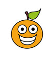 color kawaii fruit orange happy icon vector image vector image