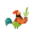 colorful rooster with wearing overalls flower pot vector image vector image
