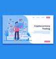 cryptocurrency trading landing page concept vector image