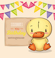 cute and little duck birthday card vector image vector image