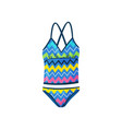 flat icon of female swimsuit with zigzag vector image vector image
