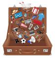 general shopping item floating over brown bag vector image vector image