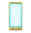 gold smartphone with blue screen vector image vector image