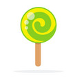 Green round lollipop swirl on stick flat isolated