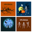 halloween pumpkins with skeletons and ghosts vector image vector image