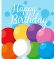 happy birthday card with balloons helium vector image vector image