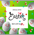 happy easter background template with colorful vector image vector image