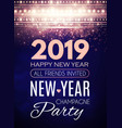 happy new 2019 year party poster template art vector image vector image