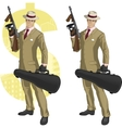 Hispanic mafioso with Tommy-gun cartoon vector image vector image