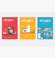 home appliances cards set electronics template of vector image