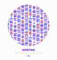 hosting concept in circle thin line icons vps vector image vector image
